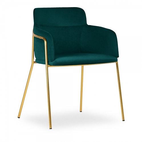 Sophia Teal Velvet Dining Chair Brass Frame