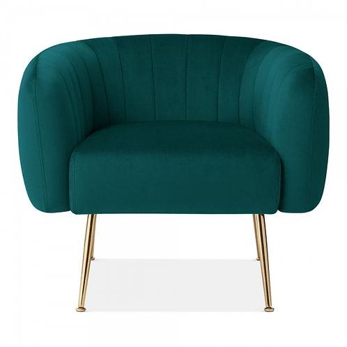 Green Velvet Art Deco Tub Arm Chair - Aalto Velvet Accent Chair