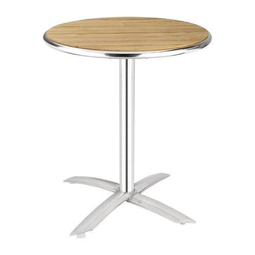 Ash Round Folding Cafe Patio Table - 60cm Height