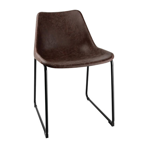 Coffee Vegan Eco Leather Industrial Bobby Dining Chair