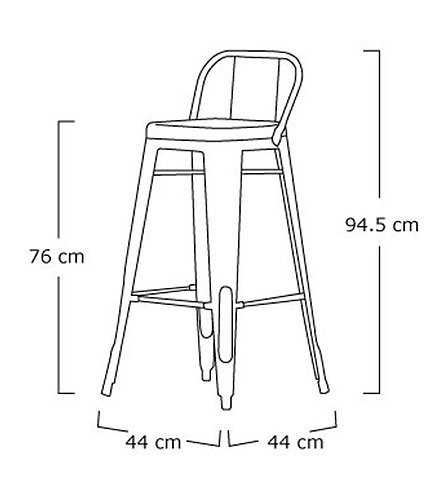 Pair X 2 Copper Bar Stool With Back Rest