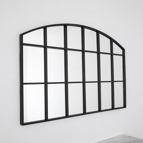Black Kritel Style Window Pane Arched Mirror