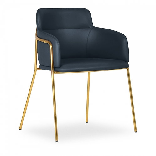 Sophia Navy Faux Leather Dining Chair Brass Frame