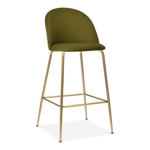 Millennial Brass Velvet Dining Bar Stool,Moss Green +Cols, Set of