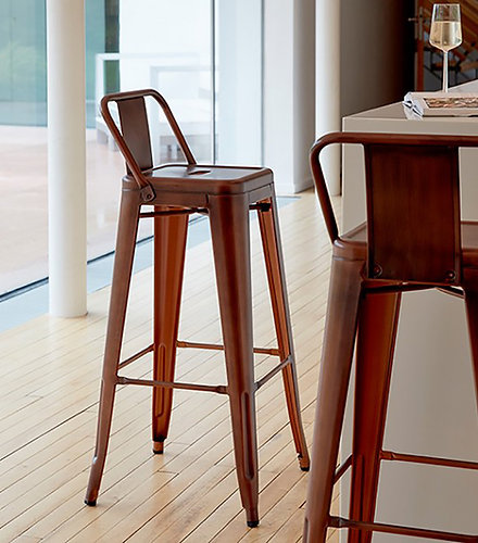 pair x 2 copper industrial bar stool with back rest