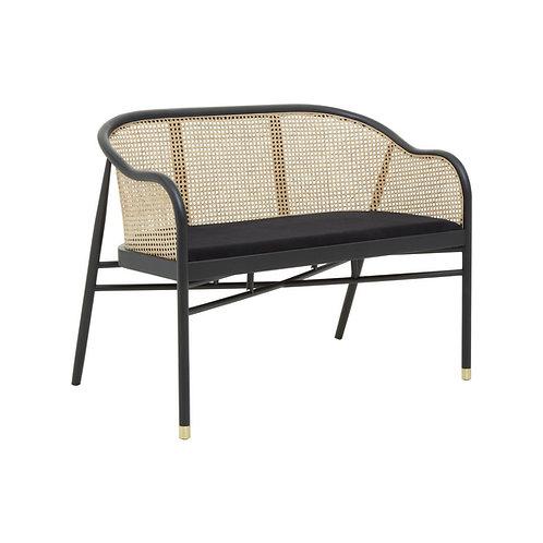 Black Obi Rattan Dining Bench Sofa