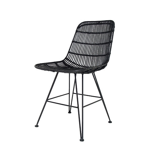 Black Rattan Dining Side Chair in Black or Natural