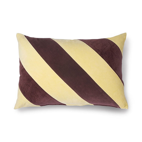 Cream Plum Velvet Striped Cushion