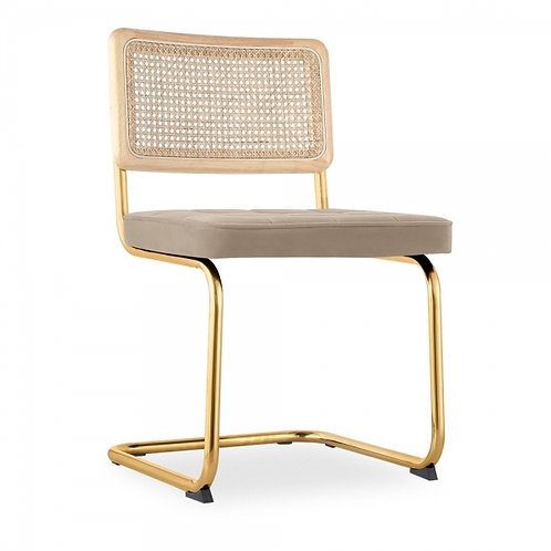 Brass Taupe Retro Cane Webbing Boucle Anti-Gravity Chair
