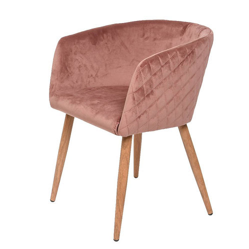 Blush Pink Quilted Velvet - dining chair, velvet upholstered