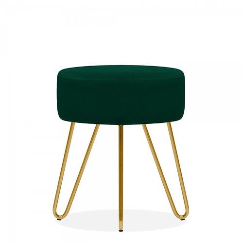 Emerald Green Velvet Aeda 45cm Low Stool - Gold Leg Base