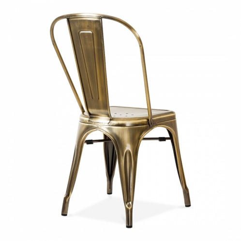 copper or brass industrial metal dining chair vintage inspired industrial style dining chair available in a choice of metallic finishes copper silver