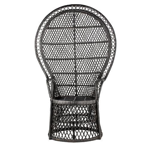 Peacock Chair - Black Woven rattan cane