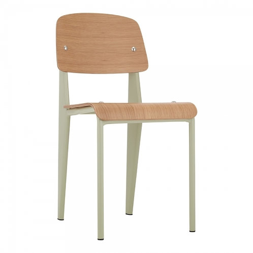Sage Green Dining Chair - Natural Wood Metal