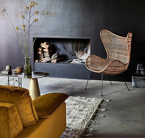 Black Rattan Wing Chair