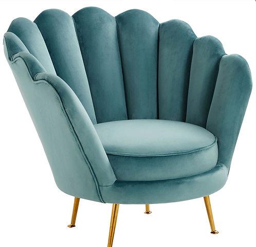 Aqua Velvet Shell Accent Chair