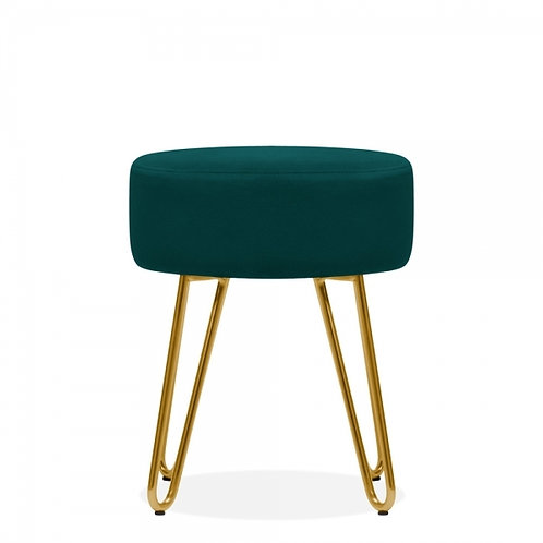 Aeda Teal Velvet 45cm Low Stool - Gold Leg Base
