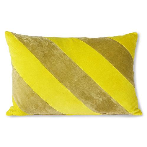 Sunshine Yellow Velvet Striped Cushion
