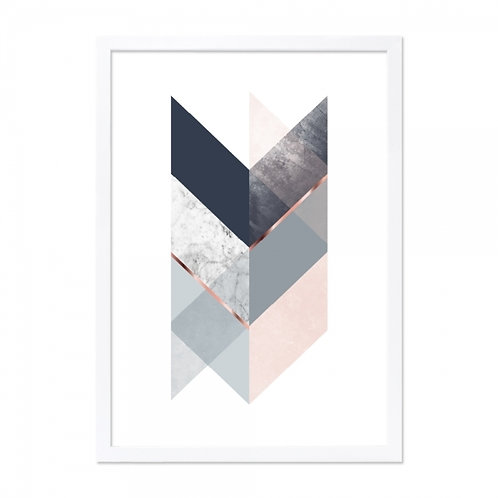 Framed Art - Chevron Copper,Marble, Blush Print