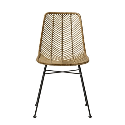 Natural Rattan Dining Side Chair with black legs