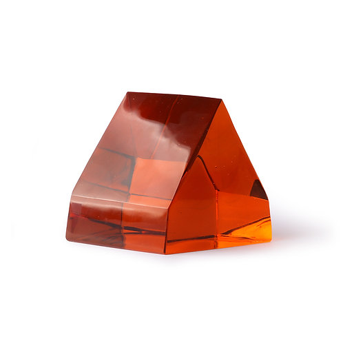 Apex Prism Amber Glass Art Paper Weight