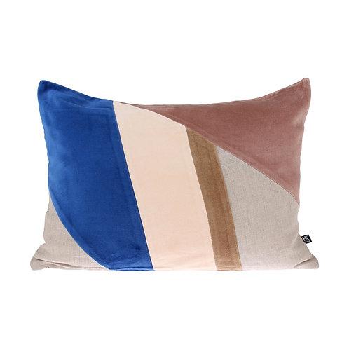 Velvet patch multicolour cushion (35x50) blue