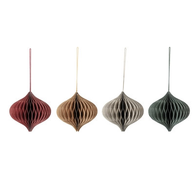 Paper Lanterns Set 4  - Medium Mixed Earth Colours- Ruby, Emerald, Gold, Grey