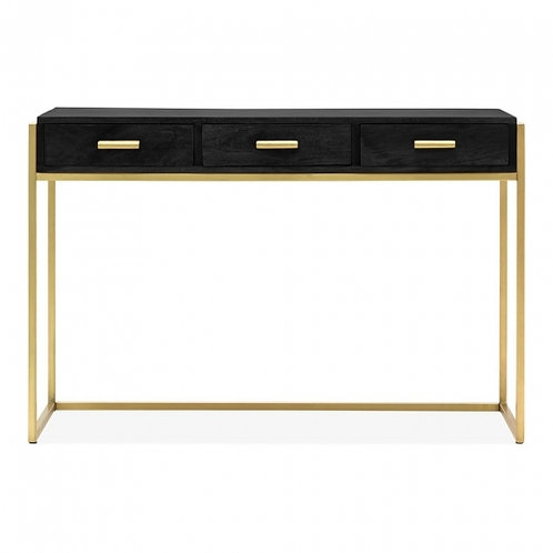 Kelly black - brass, console desk, side table, 3 drawers