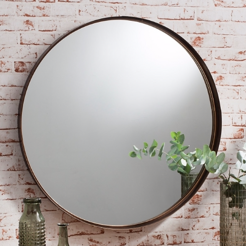 Stein Art Deco Small Round Wall Mirror -Bronze - 41cm