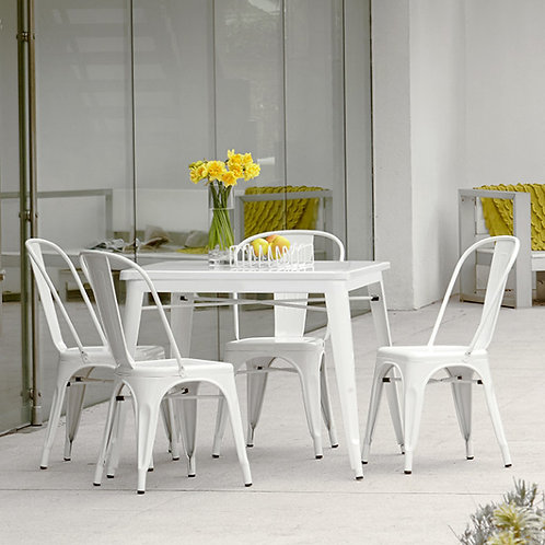 White Industrial Style dining table and chair set 4