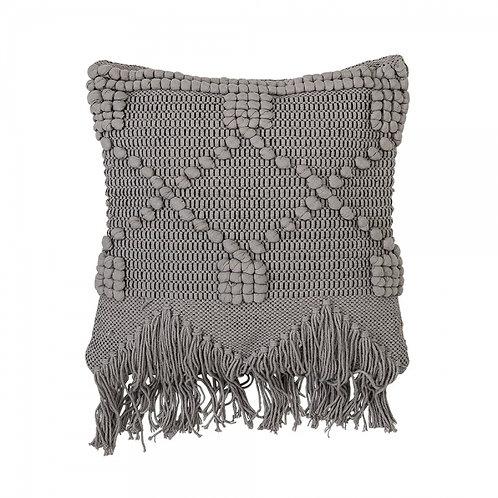 Grey Macrame Fringed Textured Cushion