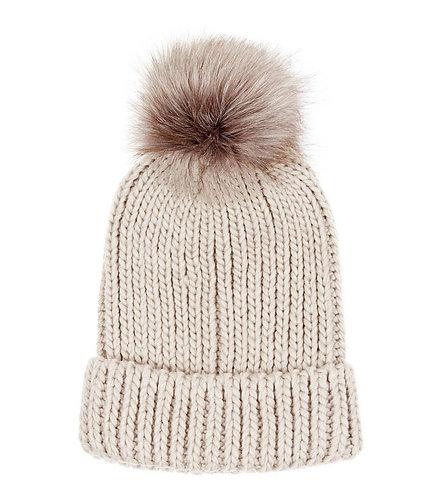 Bobbly Hat - Chunky knit Pom Pom Beany