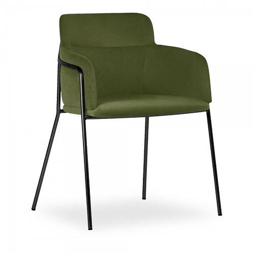 Sophia Moss Velvet Dining Chair Black Frame