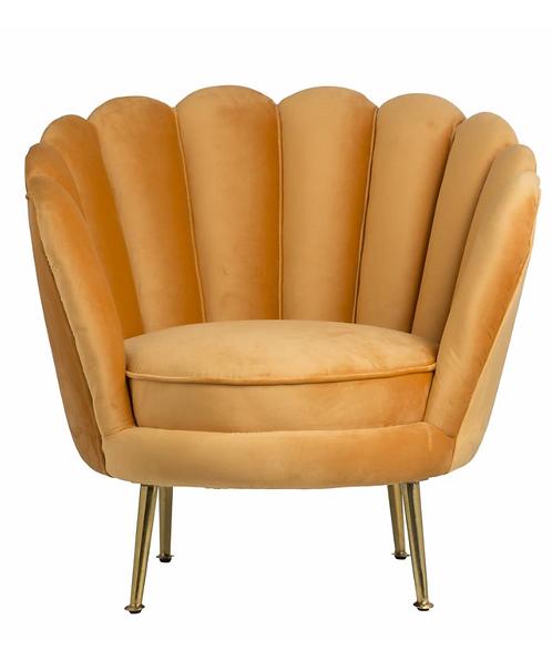 Mustard Velvet Fantail Bedroom Chair