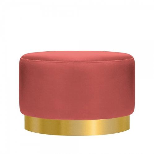 Rosewood Coral - Velvet Ottoman 40cm Stool - Gold base