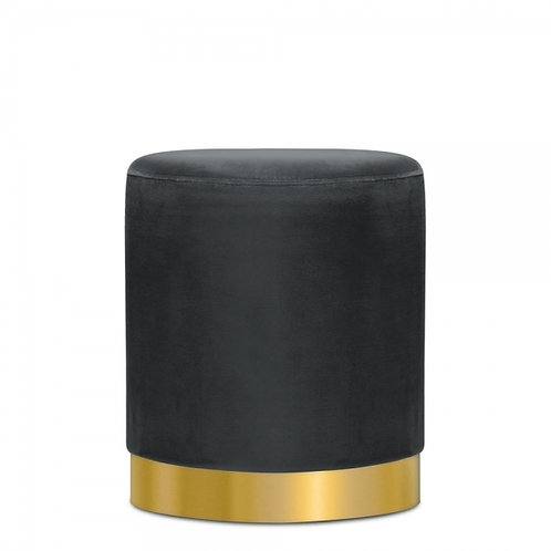 Grey Velvet Art Deco Velvet Stool Tulsi 42cm Stool - Gold base
