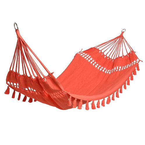 Coral Hammock with Tasselled Fringe