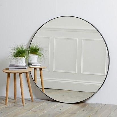 Arco Art Deco Round Black Mirror 100cm D