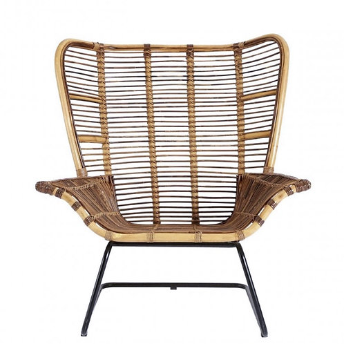 Ubud Rattan Wing Chair - Black or Natural