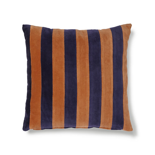 Striped Terracotta Velvet Cushion