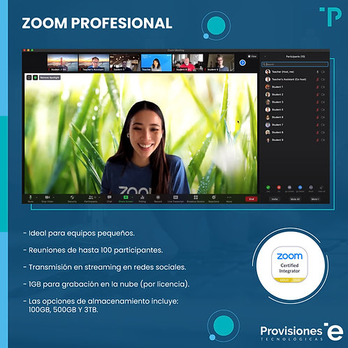 Zoom Meeting Pro (anual, 01 anfitrión)