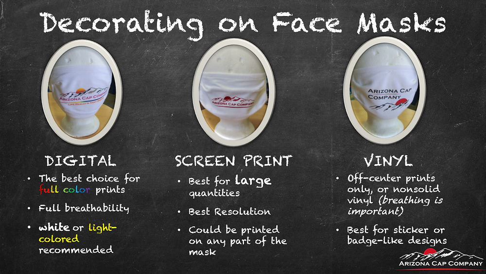 Decorating Face masks with screen printing, digital printing or vinyl