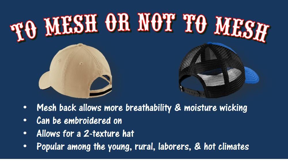 why should i wear a trucker hat, mesh back hat, moisture wicking
