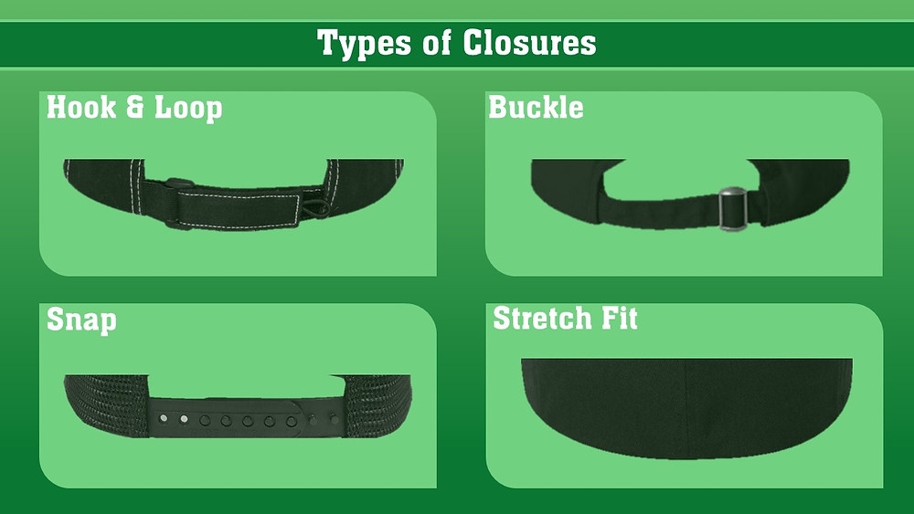 hook and loop, buckle, snap back, stretch fit, flexfit, hat closures