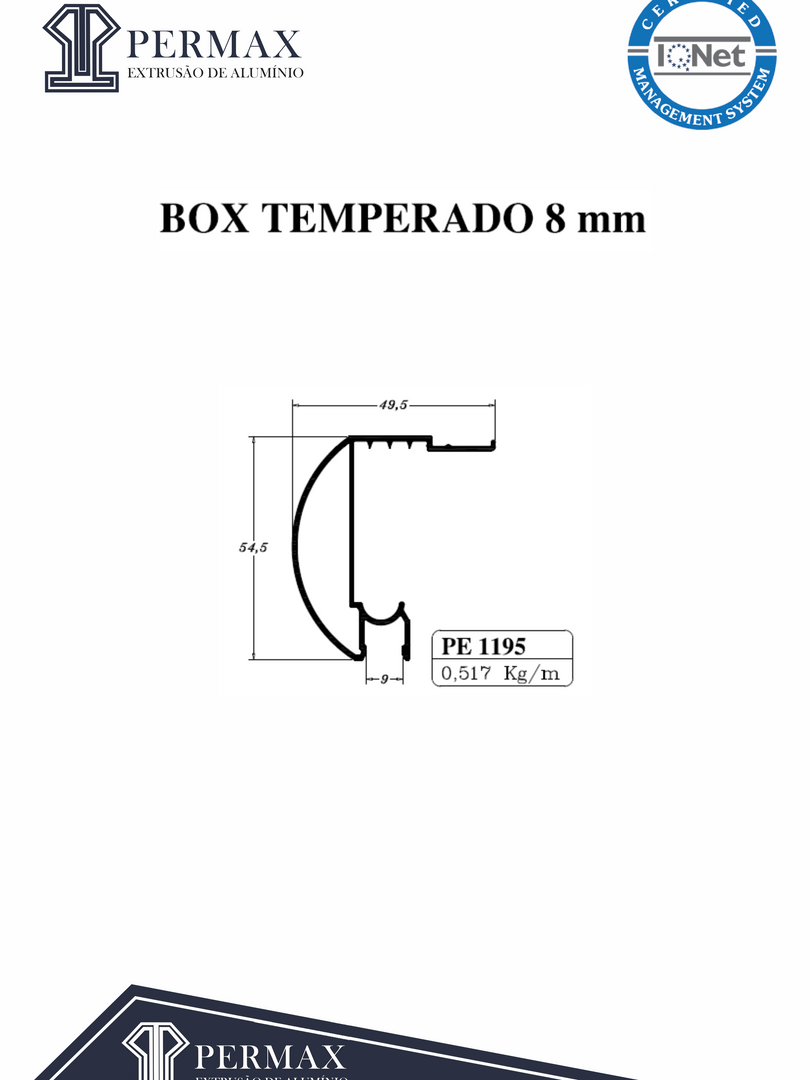 box temperado 8mm PE 1195