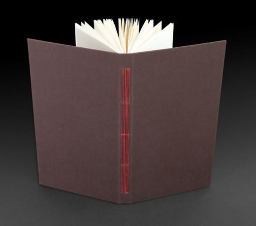 ספר בכריכה קשה, קונטרסים, תפירה דרך השדרה.