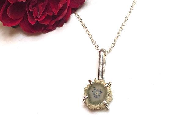 OOAK stalactite slice necklace