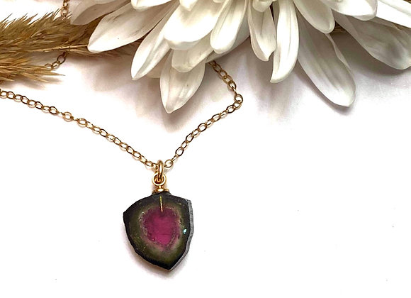 OOAK watermelon tourmaline is set with gold fill find