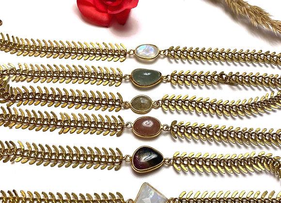 Raw brass stone bracelets