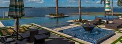 Infinity edge pool with tree islands